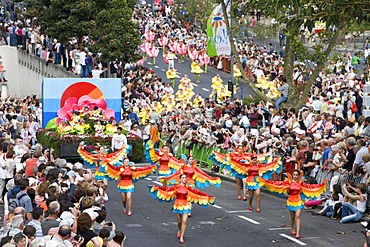 Dancers and Floral Float at Madeira Flower Festival Parade, Funchal, Madeira, Portugal