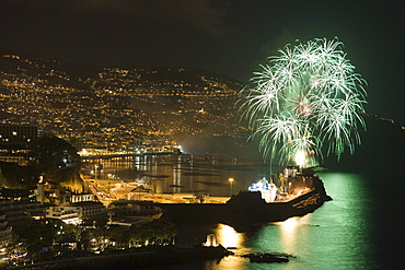 Fireworks seen from Reid's Palace Hotel, Funchal, Madeira, Portugal