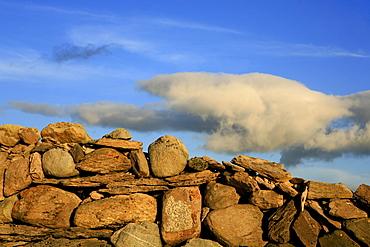 Traditional stone wall in the evening light, Ring of Beara, Beara Peninsula, County Cork, southwest coast, Ireland, Europe