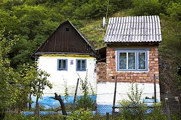 Romanian house with little orthodox icon on the wall, Saliste, Sibiu, Transylvania, Romania, Europe