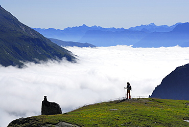 Woman looking over sea of fog, Lower Engadin, Engadin, Canton of Grisons, Switzerland