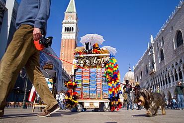Souvenir stall on Piazza San Marco, St. Marks Square, Venice, Veneto, Italy