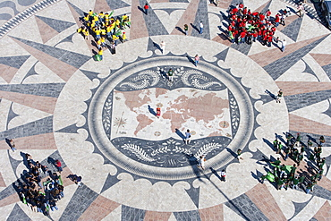 People on the World Mosaic Map, View from the top of the Discoveries Monument, Padrao dos Descobrimentos, Belem, Lisbon, Lisboa, Portugal, Europe
