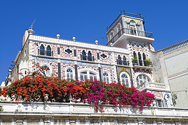 Bougainvillea on the balcony of a building in the Alfama District, Lisbon, Lisboa, Portugal, Europe