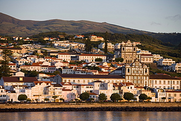 Parish churches in the morning light, Horta, Faial Island, Azores, Portugal, Europe