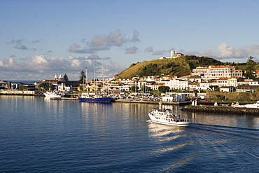 Ferry in Horta Harbor, Horta, Faial Island, Azores, Portugal, Europe