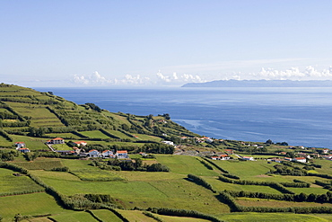 Rural buildings and green meadows, Horta, Faial Island, Azores, Portugal, Europe