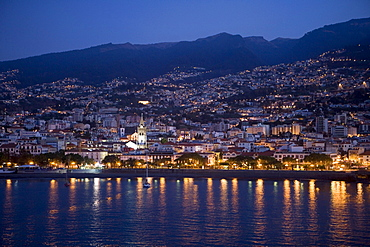 City lights at dawn, Funchal, Madeira, Portugal, Europe