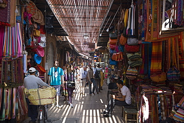 Light and shadow in a Souk market, Marrakesh, Morocco, Africa