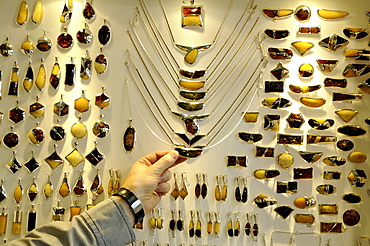 View at display with amber jewelry, Gdansk, Poland, Europe