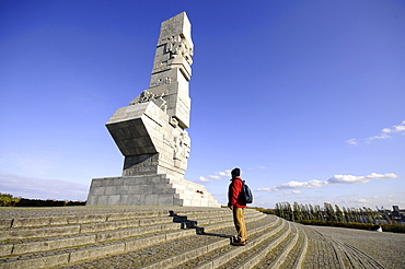 Man at the Westerplatte monument in the sunlight, Poland, Europe