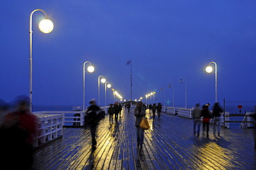 People on the mole of Sopot in the evening, Poland, Europe