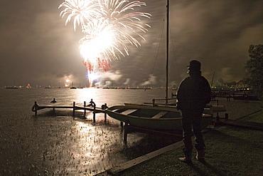 fireworks display above Steinhuder Meer lake near Hannover, Lower Saxony, northern Germany