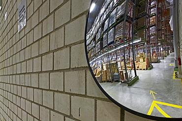 convex traffic mirror in large Rossmann warehouse, Burgwedel, near Hanover, Lower Saxony, Germany