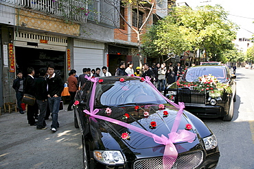 Decorated cars at a traditional chinese wedding, Jinfeng, Changle, Fujian province, China, Asia