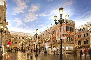 Square with shops at Venetian Casino Resort, Macao, Taipa, China, Asia