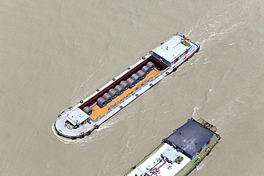 High angle view at freighters on the Huangpu river, Shanghai, China, Asia