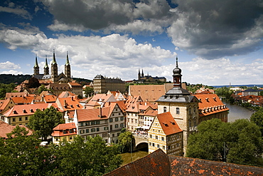 Steeples and bell towers of Bamberg Cathedral (Left), St. Michael's church (Centre) and the Altes Rathaus, the old city hall (Right), old town of Bamberg, Bamber, Franken, Bavaria, Germany, Europe