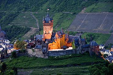 Cochem castle, Reichsburg Cochem, Cochem in the Mosel valley, Rhineland-Palatinate, Germany, Europe