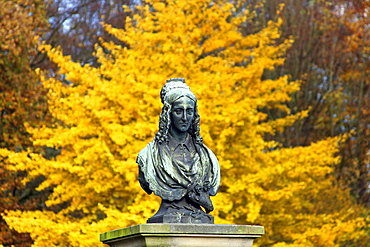 Annette von Droste memorial, Huelshoff castle, Havixbeck, Muensterland, North Rhine-Westphalia, Germany