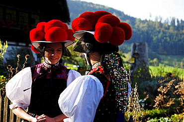 Women wearing traditional costumes, Gutach, Black Forest, Baden-Wurttemberg, Germany