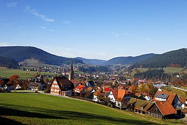 Oberdorf with church, Baiersbronn, Baden-Wurttemberg, Germany