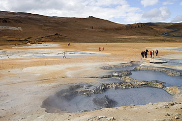 Visitors in Krafla Geothermal Area, Krafla, Nordurland Eystra, Iceland, Europe
