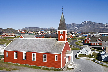 View at Frelsers Kirke church at Kolonihavn district, Nuuk (Godthab), Kitaa, Greenland