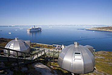 Hotel Arctic Igloo Accomodation and cruise ship MS Deutschland, Ilulissat (Jakobshavn), Disko Bay, Kitaa, Greenland