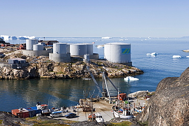 Oil tanks at harbour entrance, Ilulissat (Jakobshavn), Disko Bay, Kitaa, Greenland