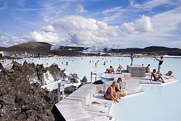 People bathing in hot thermal water, Blue lagoon, Grindavik, Reykjanes, Iceland, Europe