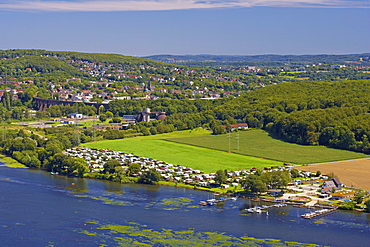 View from Harkortberg at lake Harkort near Wetter with Viadukt Herdecke, Ruhrgebiet, North Rhine-Westphalia, Germany, Europe