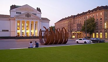 City theater in the evening, Duisburg, North Rhine-Westphalia, Germany
