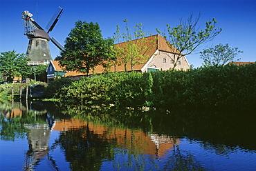 Windmill and farm house, Ostgrossefehn, Eastern Friesland, North Sea, Lower Saxony, Germany