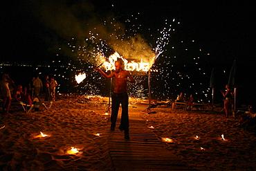 Jugglers and fire-eaters at CafÈ del Mar Ibiza, Balearic Island, Spain