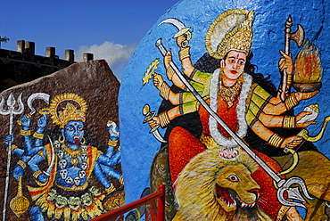 Kali and Shiva painted on rock boulders, Golconda Fort, Hyderabad, Andhra Pradesh, India, Asia