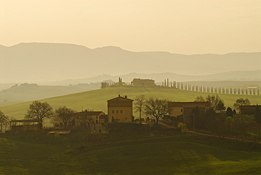 Trees and houses on rolling hills with cypresses in spring, Le Crete sienese, Tuscan landscape, Tuscany, Italy, Europe