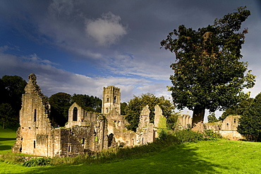 Fountains Abbey, Ripon, North Yorkshire, England, Great Britain, Europe, Fountains Abbey is one of the largest and best preserved Cistercian houses in England. It is a Grade I listed building and owned by the National Trust. It is a UNESCO World Heritage Site.
