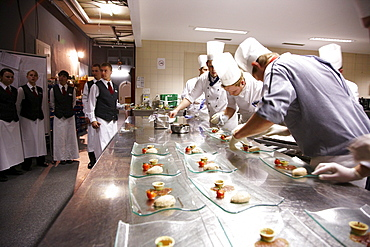 Cooks and service staff, Hotel Waldhaus, Flims, Canton of Grisons, Switzerland