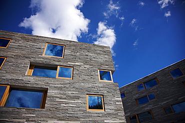 Facade of hotel Rocksresort, Laax, Canton of Grisons, Switzerland