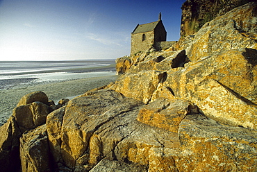 Chapel at the foot of Mont Saint Michel, Normandy, France, Europe