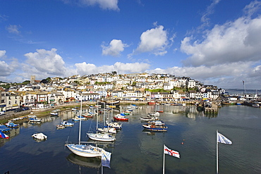 View over harbor with replica of the Golden Hind, Brixham, Torbay, Devon, England, United Kingdom