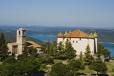 View at castle and church of the village Aiguines above the lake Lac de Ste. Croix, Var, Provence, France