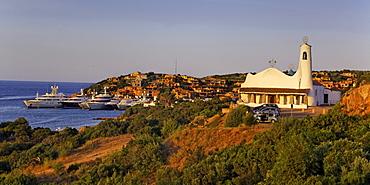 Italy Sardinia Costa Smeralda Porto Cervo Stella Maris church Panorama