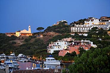 Italy Sardinia Costa Smeralda Porto Cervo Stella Maris church near Yachting Port