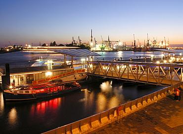 St. Pauli Landing Bridges at night, Hamburg, Germany