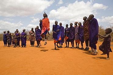 A group of Massai men dancing, Tsavo, Kenya, Africa