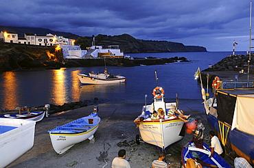 Lagoa Harbor at night, Southeast coast, Sao Miguel Island, Azores, Portugal