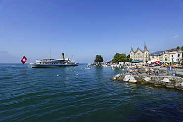 Pleasure boat on lake Geneva, Vevey, Canton of Vaud, Switzerland