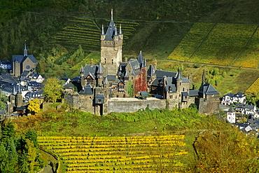 View at the Reichsburg amidst vineyards, Rhineland-Palatinate, Germany